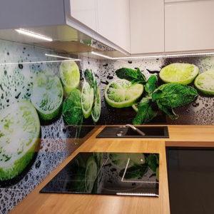 panel szklany do kuchni limonka