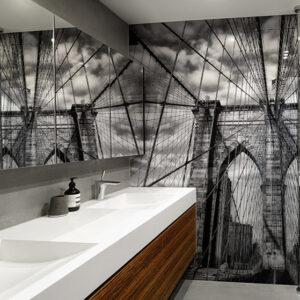 panel szklany łazienka most brooklyn